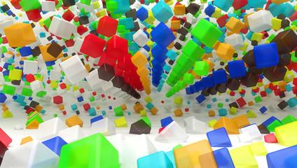 cubi 3d smussati colorati caos entropia