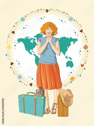Young traveler girl