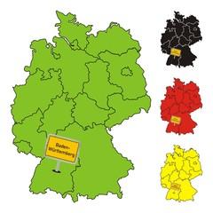 Baden-Württemberg / Deutschland ~ Bundesland ~ Karte