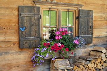 Blumenkasten vor Holzhaus