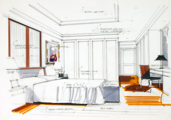 Graphic sketch an bedroom