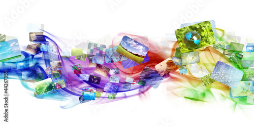 Colorful smoke with images