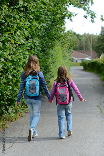 Vertical view for children on the way to school
