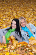 Two happy young women in autumn forest