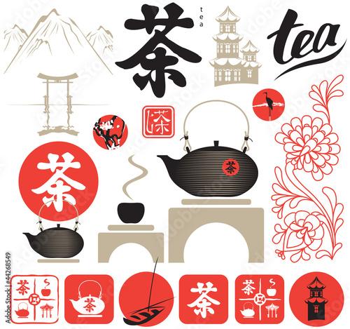 zestaw-elementow-projektu-na-wschod-od-ceremonii-parzenia-herbaty