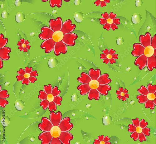 Seamless red flowers