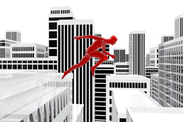 Hombre saltando sobre los tejados de edificios en la ciudad