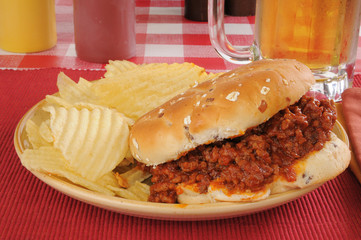 Sloppy Joe with beer