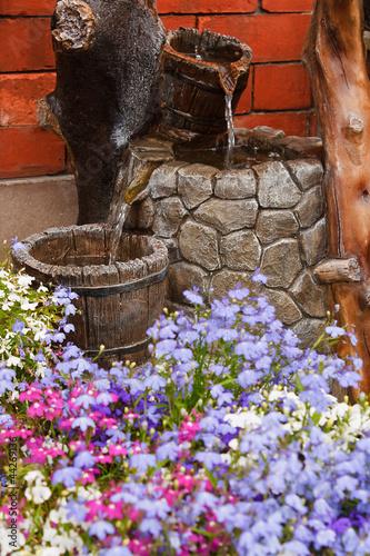Leinwanddruck Bild ornamental garden water feature