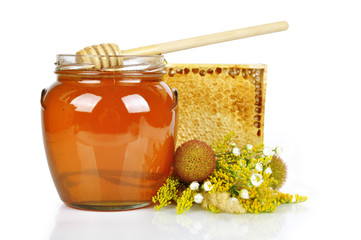 sweet honey in glass jar