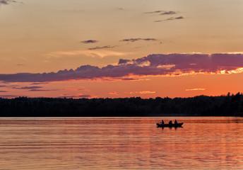 Sunset fishing on Clayton Lake, Ontario, Canada.