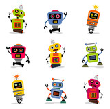Fototapety et of cute vector retro robots 2