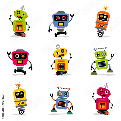 et of cute vector retro robots 2 - 44272333
