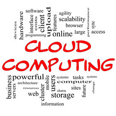 Cloud Computing Word Cloud Concept in Red & Black