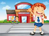 kids infront of school