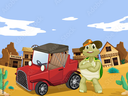 Foto Spatwand Wild West tortoise and car