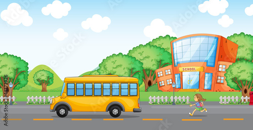 girl running behind school bus