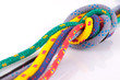 colorful rope knot isolated on white