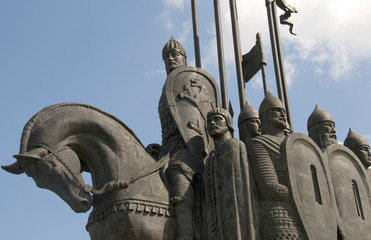 Fragment of the monument to Alexander Nevsky. Pskov