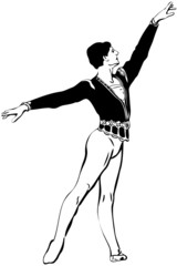 a sketch male ballet dancer standing in pose