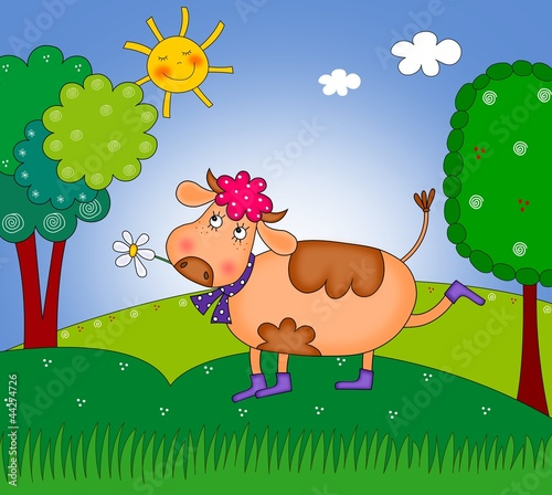 happy cow walking on the meadow