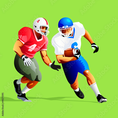 Two american football player fighting for a ball
