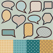 Speech bubbles made of paper with geometric pattern
