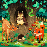 Animals in the wood. Vector illustration.
