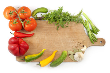 vegetables and spices  with empty cutting board