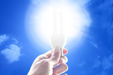 Economic lamp with light on hand