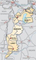 Karte des Kantons Burgenland mit Verkehrsnetz