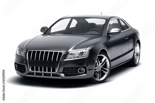 luxury sport sedan car on white background 3d rendering