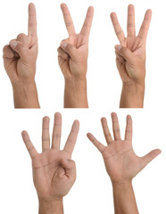 Hand gestures using fingers - one to five