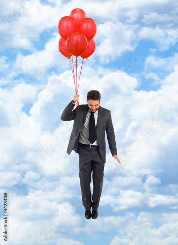 Businessman in flight