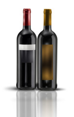 2 bottiglie di vino rosso su fondo bianco