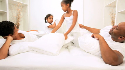 Little Ethnic Girls Fun Parents Bedroom Morning