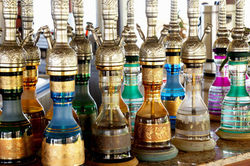 colorful and decorated waterpipes