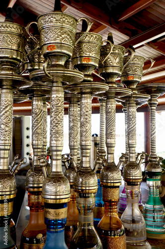 Rows of colorful and decorated waterpipes