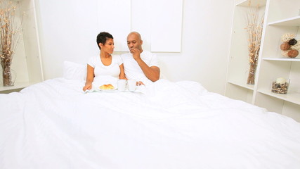 African American Couple Weekend Breakfast Bed