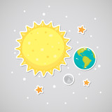 Sticker with the Sun, Earth, Moon