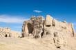 the jiaohe ruins against a blue sky