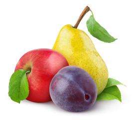 Fresh fruits isolated on white