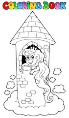 Coloring book princess theme 1