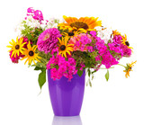 Fototapety Beautiful bouquet of bright flowers isolated on white
