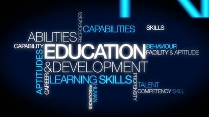 Education development word tag cloud animation