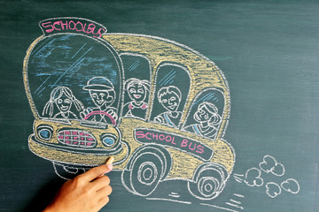 School bus cartoon on chalkboard,Drawing
