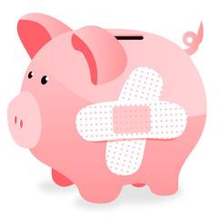Cochon rose tirelire - pansements - banque
