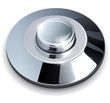 Metallic, chrome web button, vector illustration.