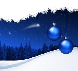 Weihnachtskarte mit blauen Kugeln