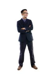 Handsome business man of Asian, full length portrait.